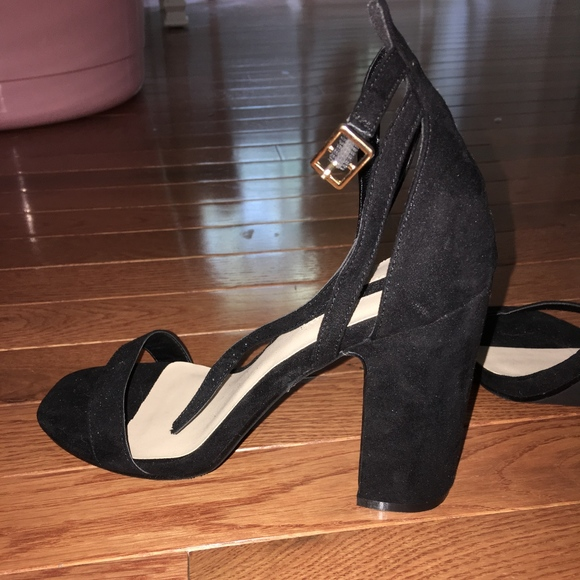factory authentic cute huge inventory Forever 21 Black Two Strap 4 Inch Block Heels